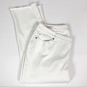 Torrid White Crop Boyfriend Raw Hem Jeans